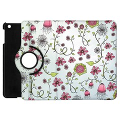 Pink Whimsical Flowers On Blue Apple Ipad Mini Flip 360 Case by Zandiepants