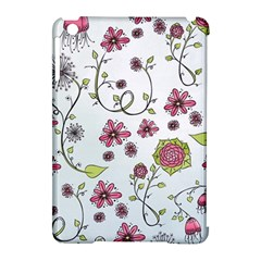 Pink Whimsical Flowers On Blue Apple Ipad Mini Hardshell Case (compatible With Smart Cover) by Zandiepants