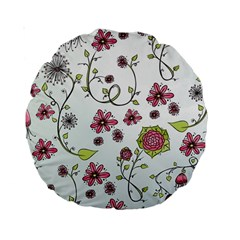Pink Whimsical Flowers On Blue 15  Premium Round Cushion  by Zandiepants