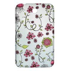 Pink Whimsical Flowers On Blue Samsung Galaxy Tab 3 (7 ) P3200 Hardshell Case  by Zandiepants