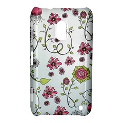 Pink Whimsical Flowers On Blue Nokia Lumia 620 Hardshell Case by Zandiepants
