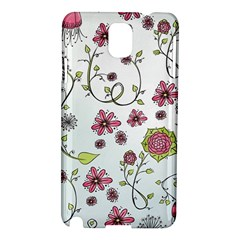 Pink Whimsical Flowers On Blue Samsung Galaxy Note 3 N9005 Hardshell Case by Zandiepants