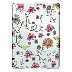 Pink Whimsical Flowers On Blue Apple Ipad Air Hardshell Case by Zandiepants