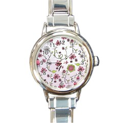 Pink Whimsical Flowers On Pink Round Italian Charm Watch by Zandiepants
