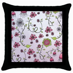 Pink Whimsical Flowers On Pink Black Throw Pillow Case by Zandiepants
