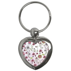 Pink Whimsical Flowers On Pink Key Chain (heart) by Zandiepants