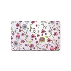 Pink Whimsical Flowers On Pink Magnet (name Card) by Zandiepants