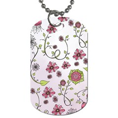 Pink Whimsical Flowers On Pink Dog Tag (two Sided)  by Zandiepants