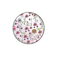 Pink Whimsical Flowers On Pink Golf Ball Marker 4 Pack (for Hat Clip) by Zandiepants