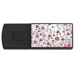 Pink Whimsical Flowers On Pink 4gb Usb Flash Drive (rectangle) by Zandiepants