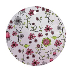 Pink Whimsical Flowers On Pink Round Ornament (two Sides) by Zandiepants