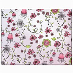 Pink Whimsical Flowers On Pink Canvas 8  X 10  (unframed) by Zandiepants