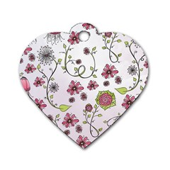 Pink Whimsical Flowers On Pink Dog Tag Heart (one Sided)  by Zandiepants