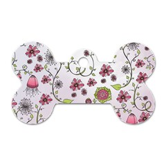 Pink Whimsical Flowers On Pink Dog Tag Bone (one Sided) by Zandiepants