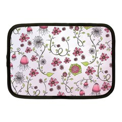 Pink Whimsical Flowers On Pink Netbook Sleeve (medium) by Zandiepants