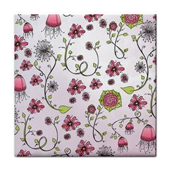 Pink Whimsical Flowers On Pink Face Towel by Zandiepants