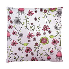 Pink Whimsical Flowers On Pink Cushion Case (two Sided)  by Zandiepants