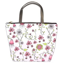 Pink Whimsical Flowers On Pink Bucket Handbag by Zandiepants