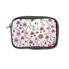 Pink Whimsical Flowers On Pink Coin Purse by Zandiepants