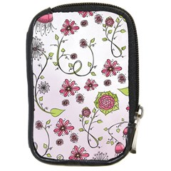 Pink Whimsical Flowers On Pink Compact Camera Leather Case by Zandiepants