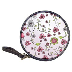 Pink Whimsical Flowers On Pink Cd Wallet by Zandiepants