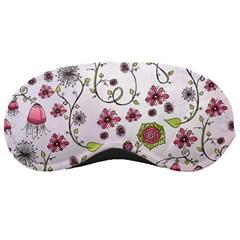 Pink Whimsical Flowers On Pink Sleeping Mask by Zandiepants