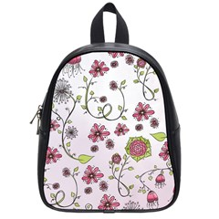 Pink Whimsical Flowers On Pink School Bag (small) by Zandiepants