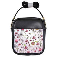 Pink Whimsical Flowers On Pink Girl s Sling Bag by Zandiepants