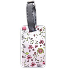 Pink Whimsical Flowers On Pink Luggage Tag (two Sides) by Zandiepants