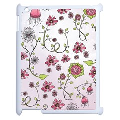 Pink Whimsical Flowers On Pink Apple Ipad 2 Case (white) by Zandiepants