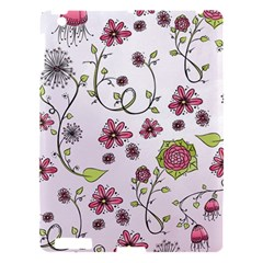 Pink Whimsical Flowers On Pink Apple Ipad 3/4 Hardshell Case by Zandiepants