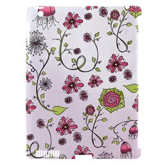 Pink Whimsical Flowers On Pink Apple Ipad 3/4 Hardshell Case (compatible With Smart Cover) by Zandiepants