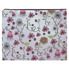 Pink whimsical flowers on pink Cosmetic Bag (XXXL) by Zandiepants
