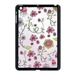 Pink Whimsical Flowers On Pink Apple Ipad Mini Case (black) by Zandiepants