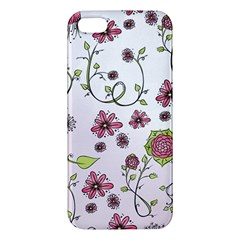 Pink Whimsical Flowers On Pink Apple Iphone 5 Premium Hardshell Case by Zandiepants