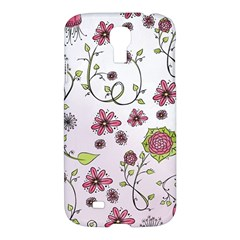 Pink Whimsical Flowers On Pink Samsung Galaxy S4 I9500/i9505 Hardshell Case by Zandiepants