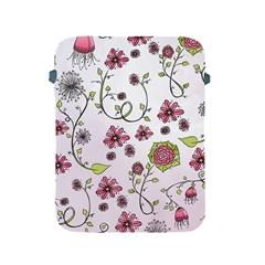 Pink Whimsical Flowers On Pink Apple Ipad Protective Sleeve by Zandiepants