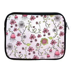 Pink Whimsical Flowers On Pink Apple Ipad Zippered Sleeve by Zandiepants