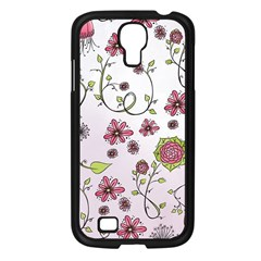 Pink Whimsical Flowers On Pink Samsung Galaxy S4 I9500/ I9505 Case (black) by Zandiepants