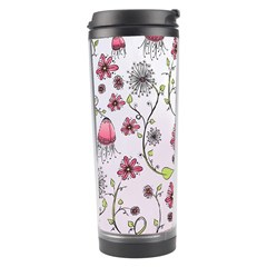 Pink Whimsical Flowers On Pink Travel Tumbler by Zandiepants