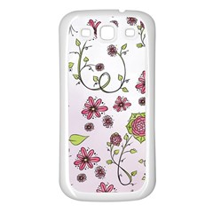 Pink Whimsical Flowers On Pink Samsung Galaxy S3 Back Case (white) by Zandiepants