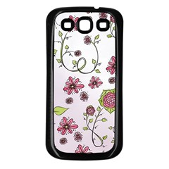 Pink whimsical flowers on pink Samsung Galaxy S3 Back Case (Black) by Zandiepants