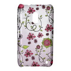 Pink Whimsical Flowers On Pink Nokia Lumia 620 Hardshell Case by Zandiepants