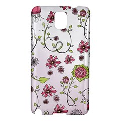 Pink Whimsical Flowers On Pink Samsung Galaxy Note 3 N9005 Hardshell Case by Zandiepants