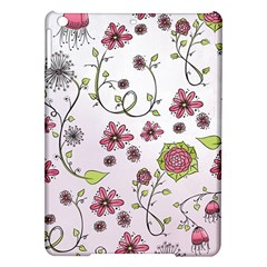 Pink Whimsical Flowers On Pink Apple Ipad Air Hardshell Case by Zandiepants
