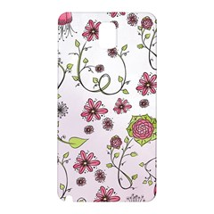 Pink Whimsical Flowers On Pink Samsung Galaxy Note 3 N9005 Hardshell Back Case by Zandiepants