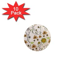 Yellow Whimsical Flowers  1  Mini Button Magnet (10 Pack) by Zandiepants
