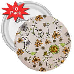 Yellow Whimsical Flowers  3  Button (10 pack) by Zandiepants