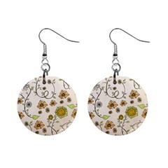 Yellow Whimsical Flowers  Mini Button Earrings