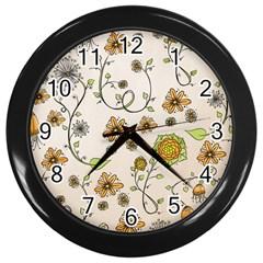 Yellow Whimsical Flowers  Wall Clock (black) by Zandiepants